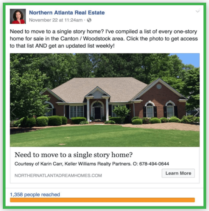 fb real estate listing ad